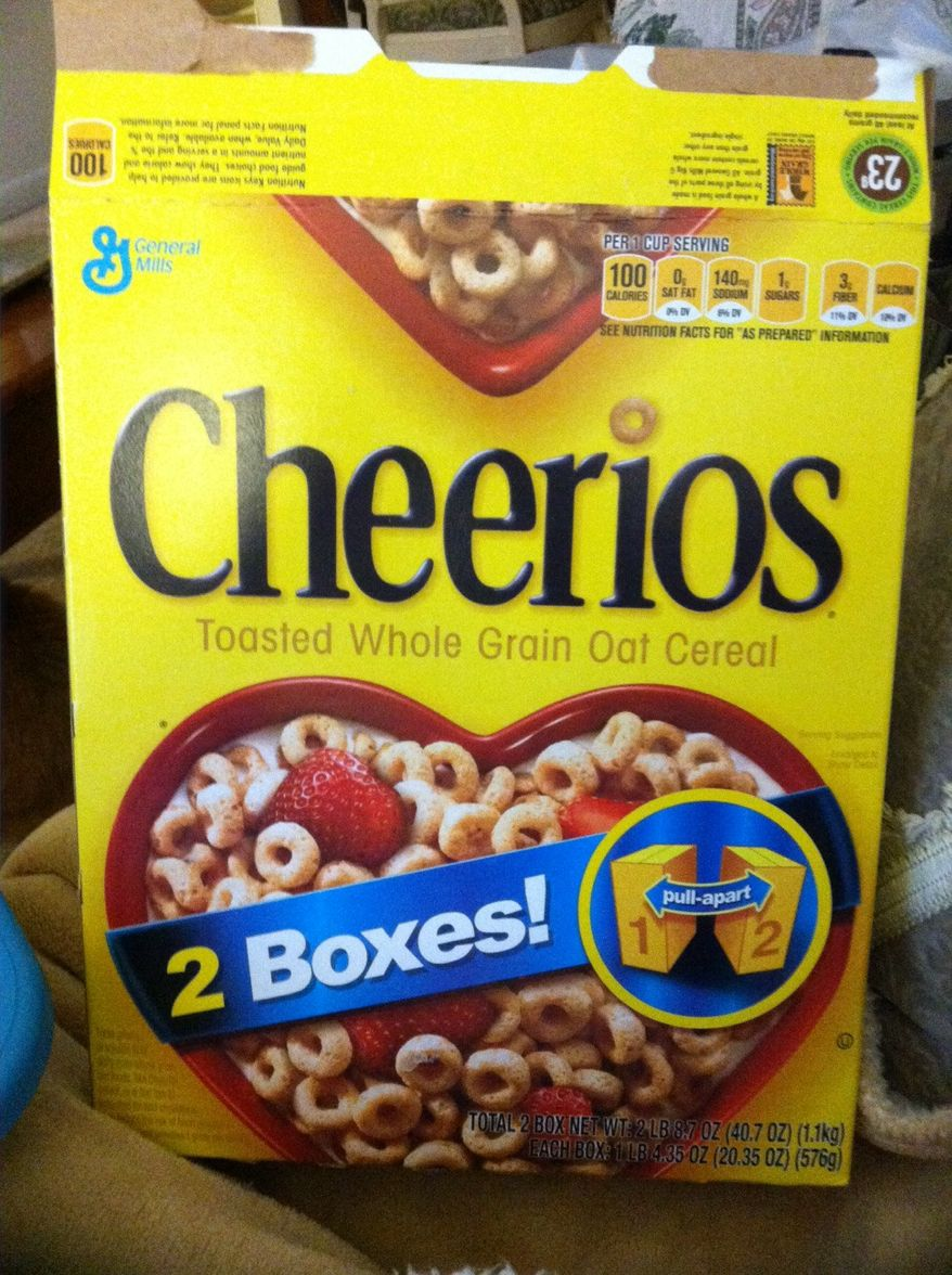 ** FILE ** Original wording on current box of Cheerios. (The Washington Times/Maria Stainer)
