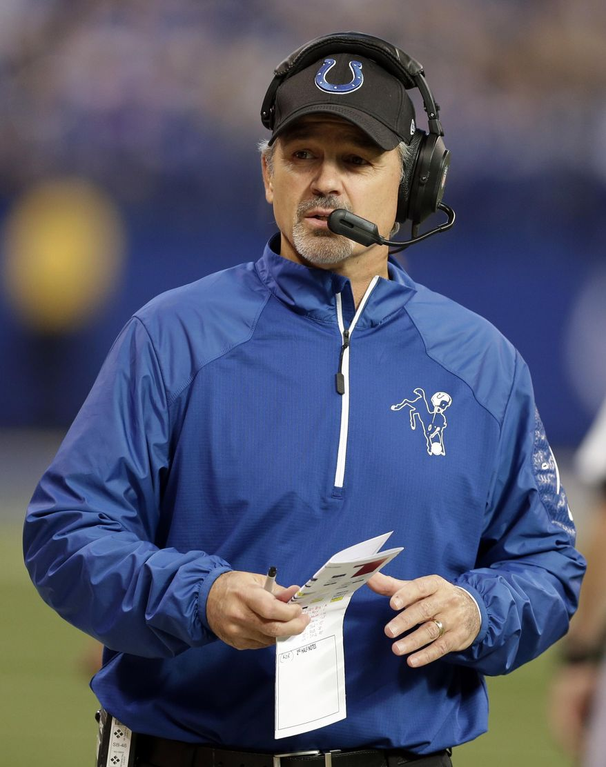 Indianapolis Colts head coach Chuck Pagano watches during the first half of an NFL football game against the Jacksonville Jaguars Sunday, Dec. 29, 2013, in Indianapolis. (AP Photo/Darron Cummings)