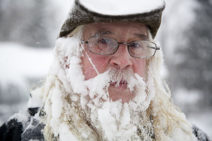 Lee Tuttle, 66, takes a break from blowing snow off of his driveway to pose for a portrait on Sunday, January 5, 2014 at his home on Miller Road in Flint, Mich. He said he hadn't really noticed the icicles forming in his beard.     (AP Photo/The Flint Journal, :Michelle Tessier) LOCAL TV OUT; LOCAL INTERNET OUT