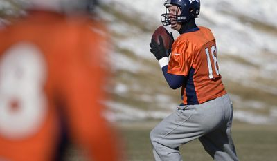 Denver Broncos quarterback Peyton Manning (18) looks to throw a pass during practice at Dove Valley as they prepare for an NFL football game against the San Diego Chargers in the Divisional Round of the Playoffs on Jan. 6, 2014, in Englewood, Colo.  (AP Photo/The Denver Post, John Leyba) MAGS OUT; TV OUT; INTERNET OUT; NO SALES; NEW YORK POST OUT; NEW YORK DAILY NEWS OUT