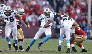 Carolina Panthers quarterback Cam Newton (1) against the San Francisco 49ers during an NFL football game in San Francisco, Sunday, Nov. 10, 2013. (AP Photo/Marcio Jose Sanchez)