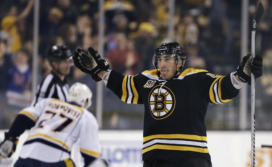 Boston Bruins left wing Brad Marchand sticks out his tongue as he celebrates his goal during overtime against the Nashville Predators during an NHL hockey game, Thursday, Jan. 2, 2014, in Boston.  The Bruins won 3-2. (AP Photo/Charles Krupa)