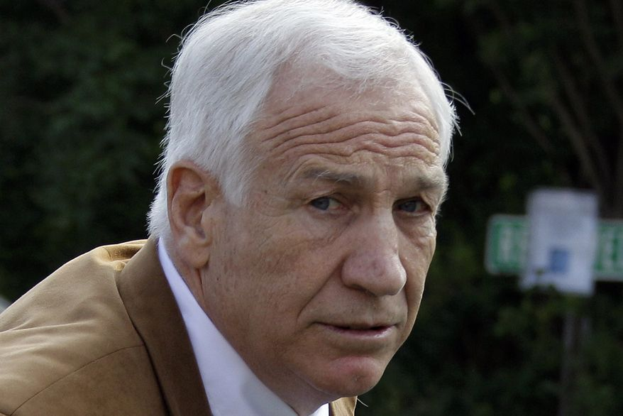 FILE - In this June 22, 2012 file photo, former Penn State assistant football coach Jerry Sandusky arrives at the Centre County Courthouse in Bellefonte, Pa. Sandusky is expected to participate in the proceeding to have his Penn State pension restored by video conference. The proceeding begins on Tuesday, Jan. 7, 2014. Sandusky lost a $4,900-a-month pension in October 2012, when he was sentenced to 30 to 60 years in prison for child sexual abuse. (AP Photo/Gene J. Puskar, File)