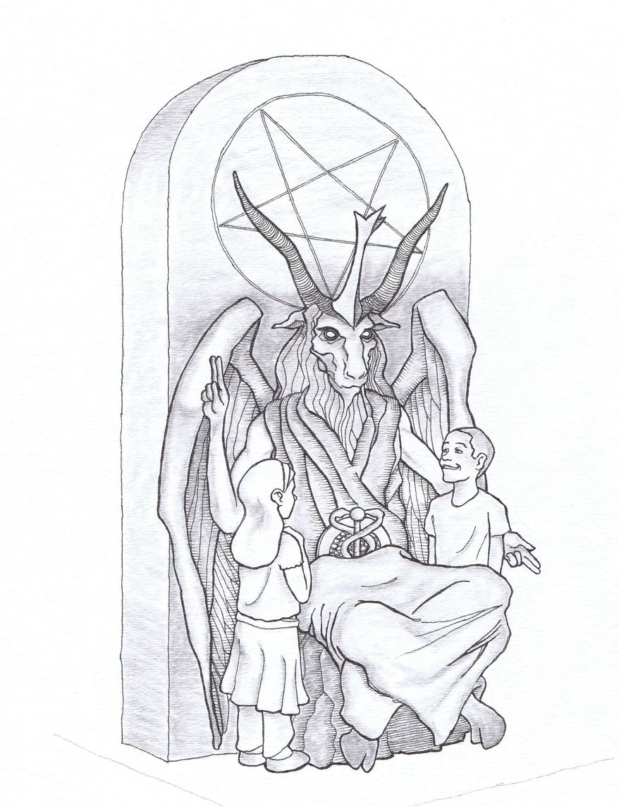 This artist's rendering provided by the Satanic Temple shows a proposed monument that the New York-based Satanic group wants to place at the Oklahoma state Capitol. The statue features a bearded, goat-headed demon sitting in a pentagram-adorned throne with children next to it. (AP Photo/Satanic Temple) ** FILE **