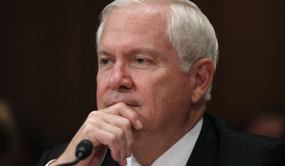 Then-Secretary of Defense Robert Gates testifies regarding the Department of Defense Fiscal Year 2012 budget request before the Senate Appropriations Committee Subcommittee on Defense on Capitol Hill in Washington, June 15, 2011. (Associated Press) ** FILE **