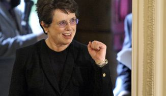 FILE - In this Aug. 12, 2009 file photo, tennis great Billie Jean King reacts as she enters the East Room of the White House in Washington, for a ceremony where President Barack Obama awarded her a 2009 Presidential Medal of Freedom. King believes standing up to discrimination is the best way to combat it. She will help lead the U.S. delegation in the opening ceremonies at the Sochi Olympics in Russia, which recently passed an anti-gay law. (AP Photo/Alex Brandon, File)