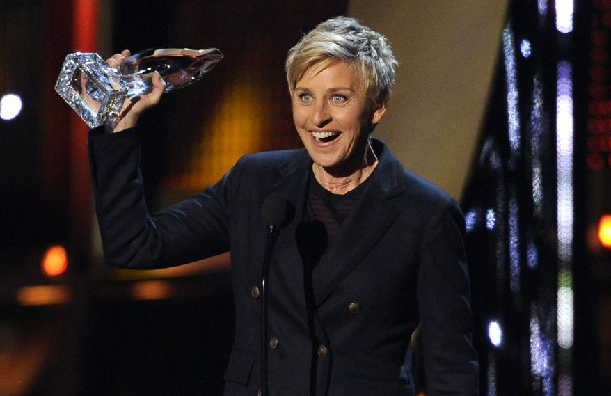 Ellen DeGeneres accepts the award for favorite daytime TV host at the 40th annual People's Choice Awards at the Nokia Theatre L.A. Live on Wednesday, Jan. 8, 2014, in Los Angeles. (Photo by Chris Pizzello/Invision/AP)