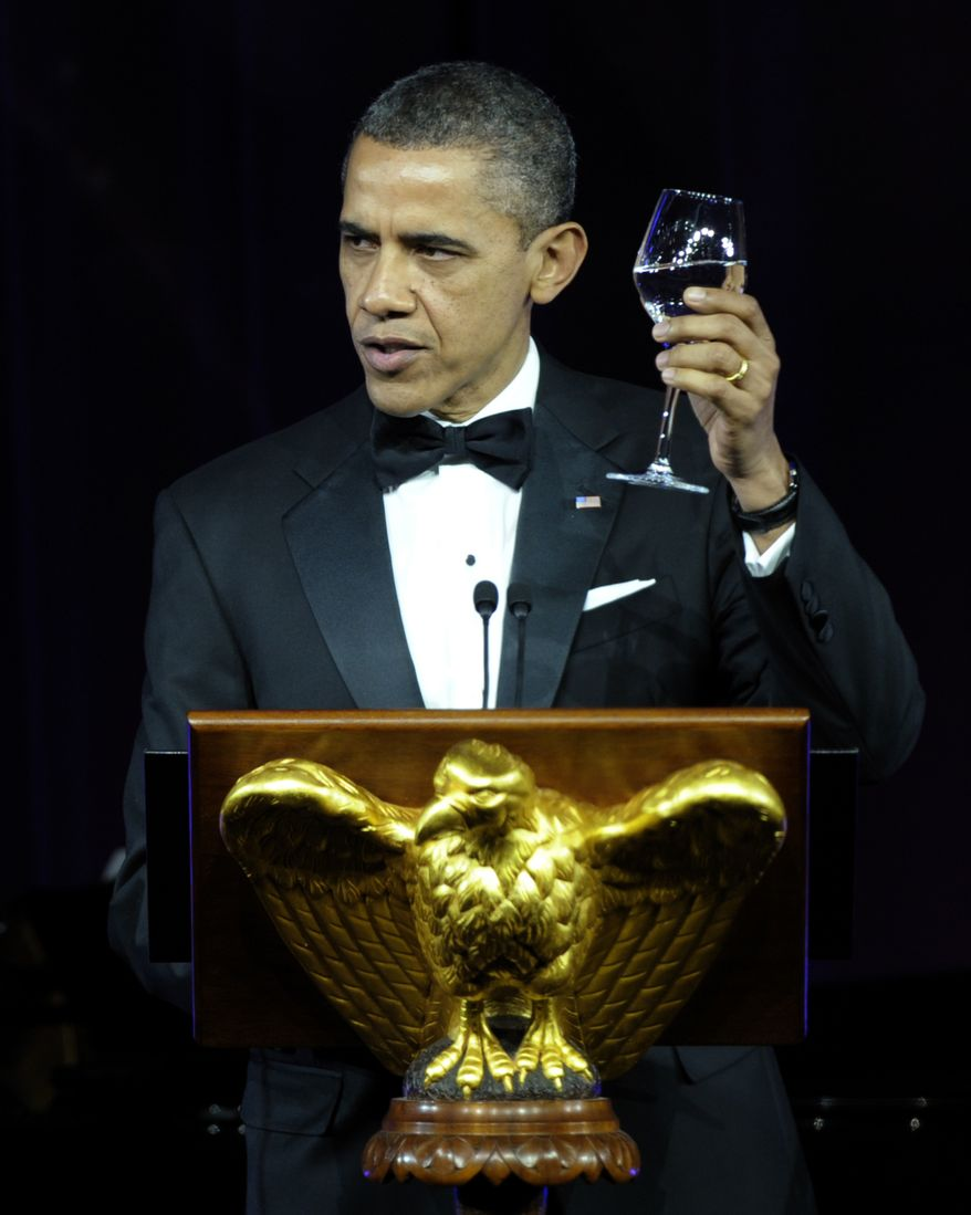 President Barack Obama offers a toast during a State Dinner for British Prime Minister David Cameron during a State Dinner at the White House in Washington, Wednesday, March 14, 2012.  (AP Photo/Susan Walsh)
