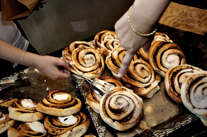 ** FILE ** In this Aug. 4, 2010, file photo, cinnamon rolls are sold at a bakery in Copenhagen, Denmark. The Danish Veterinary and Food Administration recently found that Danish bakers use more cinnamon in their pastry than the recommended limits set by the EU. (AP Photo/POLFOTO, Per Folkver, file)