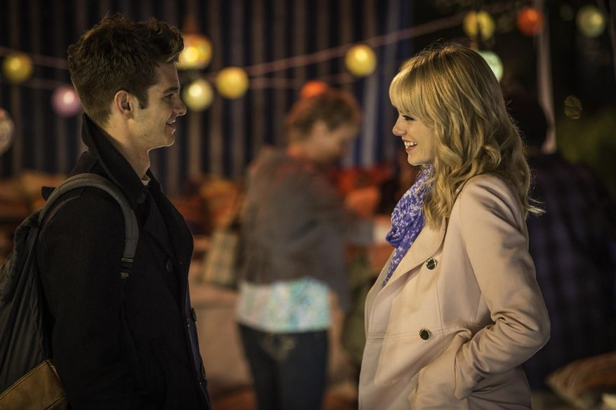 "This image released by Columbia Pictures shows Andrew Garfield, left, and Emma Stone star in a scene from ""The Amazing Spider-Man."" (AP Photo/Sony, Columbia Pictures, Niko Tavernise)"