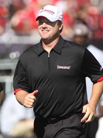 Tampa Bay Buccaneers quarterbacks coach Jay Gruden leaves the field during an NFL football game between the Tampa Bay Buccaneers and the San Diego Chargers in Tampa, Fla., Sunday, Dec. 21, 2008. The Chargers won 41-24. (AP Photo/Reinhold Matay)