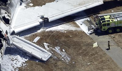 """FILE - In this July 6, 2013, aerial file photo, a firefighter stands by a tarpaulin sheet covering a body near the wreckage of the Asiana Flight 214 jet after it crashed at the San Francisco International Airport in San Francisco, Saturday, July 6, 2013. The parents of Ye Meng Yuan, the 16-year-old girl who died after being struck by two San Francisco Fire Department rigs at the scene of this crash have filed a legal claim against the city. A precursor to a lawsuit the claim says firefighters knowingly abandoned Ye Meng Yuan """"in harm's way"""" after the crash and that the fire department failed to train its employees to avoid hitting victims at disaster scenes.  (AP Photo/Marcio Jose Sanchez, File)"""