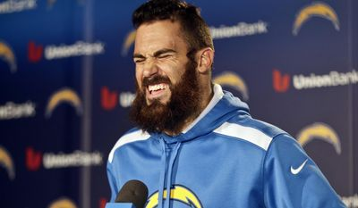San Diego Chargers free safety Eric Weddle reacts to a question during news conference covering the Chargers' upset playoff victory over the Cincinnati Bengals and the teams' upcoming playoff game against the Denver broncos at a news conference Monday, Jan. 6, 2014, in San Diego. (AP Photo/Lenny Ignelzi)