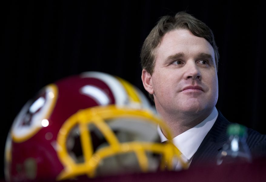 New Washington Redskins head coach Jay Gruden, attends a news conference at the Redskins Park in Ashburn, Va., Thursday, Jan. 9, 2014.  Jay Gruden was introduced as the new Washington Redskins head coach, replacing Mike Shanahan and becoming the team's eighth head coach since Daniel Snyder purchased the franchise in 1999. (AP Photo/Manuel Balce Ceneta)