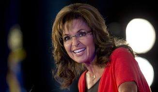 ** FILE ** In this June 15, 2013, file photo, Sarah Palin speaks during the Faith and Freedom Coalition Road to Majority 2013 conference in Washington. (AP Photo/Carolyn Kaster, File)