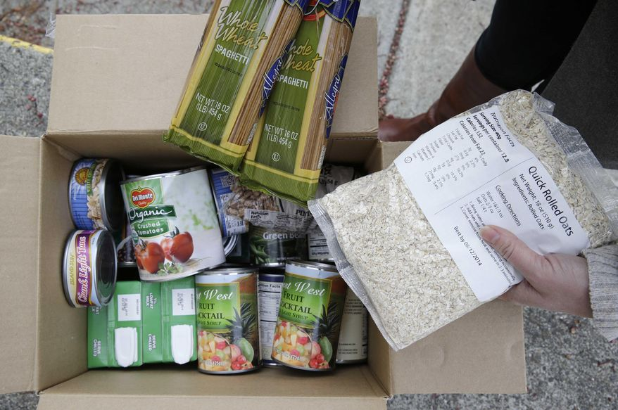 This photo taken Jan. 8, 2014 shows the contents of a specially prepared box of food at a food bank distribution in Petaluma, Calif., part of a research project with Feeding America to try to improve the health of diabetics in food-insecure families. Doctors are warning that the federal government could be socked with a bigger health bill if Congress cuts food stamps _ maybe not immediately, they say, but if the poor wind up in doctors' offices or hospitals as a result. (AP Photo/Eric Risberg)