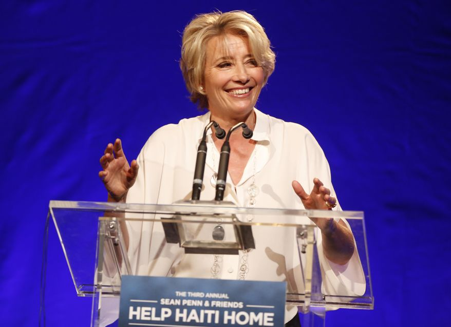Emma Thompson speaks on stage at the 3rd Annual Sean Penn & Friends HELP HAITI HOME Gala on Saturday, Jan. 11, 2014 at the Montage Hotel in Beverly Hills, Calif. (Photo by Colin Young-Wolff /Invision/AP)