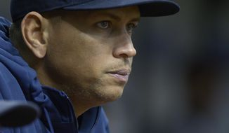 FILE - In this Aug. 25, 2013 file photo, New York Yankees' Alex Rodriguez watches from the dugout during the first inning of a baseball game against the Tampa Bay Rays in St. Petersburg, Fla. Rodriguez's drug suspension has been cut to 162 games from 211 by arbitrator Fredric Horowitz, a decision sidelining the New York Yankees third baseman the entire 2014 season.  (AP Photo/Phelan M. Ebenhack)