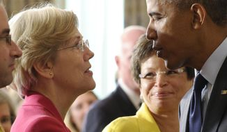 In this July 17, 2013 file photo, Sen. Elizabeth Warren, D-Mass., left, talks with President Barack Obama following a statement with Richard Cordray, the new director of the Consumer Financial Protection Bureau, in the State Dining Room of the White House in Washington. As she enters her second year in Congress in 2014, Warren told The Associated Press she's focused on improving the economic futures of American families by reigning in student debt, easing what she calls the nation's retirement crisis, and doubling funding for federal research programs. (AP Photo/Susan Walsh, File)