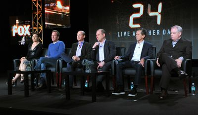 "Mary Lynn Rajskub, from left, Kiefer Sutherland, and executive producers Howard Gordon, Evan Katz, Brian Grazer and Manny Coto attend the panel for ""24: Live Another Day"" at the FOX Winter 2014 TCA, on Monday, Jan. 13, 2014, at the Langham Hotel in Pasadena, Calif. (Photo by Richard Shotwell/Invision/AP)"