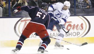 Tampa Bay Lightnings' Alex Killorn (17) shoots past Columbus Blue Jackets' Fedor Tyutin (51) during the first period of an NHL hockey game, Monday, Jan. 13, 2014, in Columbus, Ohio. (AP Photo/Mike Munden)