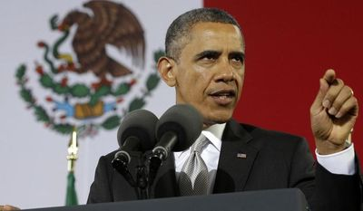 President Obama speaks at the Anthropology Museum in Mexico City on May 3, 2013. (Associated Press)