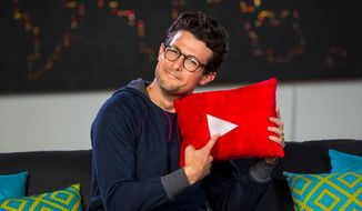 "This undated image released by YouTube Nation shows host Jacob Soboroff on the set of ""YouTube Nation."" The five-minute ""YouTube Nation"" program will post weekdays at 9 p.m. Eastern Time/6 p.m. Pacific Time starting Tuesday, Jan 14, 2014. (AP Photo/YouTube Nation)"