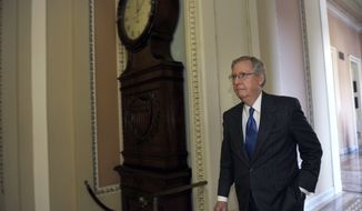 Senate Minority Leader Mitch McConnell of Ky., walks from his office to the floor of the Senate Chamber on Capitol Hill in Washington, Monday, Jan. 13, 2014. (AP Photo/Susan Walsh)