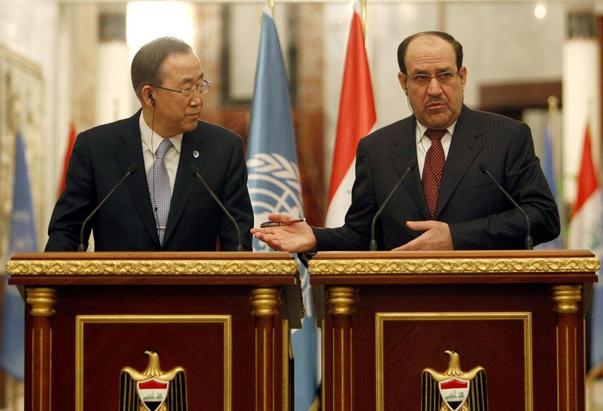 Iraqi Prime Minister Nouri al-Maliki, right, and United Nations Secretary-General Ban Ki-moon, left, during a news conference in Baghdad, Iraq, Monday, Jan. 13, 2014. The U.N. chief expressed deep concerns Monday over the deteriorating security situation in Iraq as an unprecedented standoff is underway between Iraqi troops and al-Qaida-linked militants in western Anbar province.(AP Photo/Ahmed Saadi, Pool)