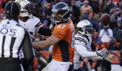 San Diego Chargers inside linebacker Donald Butler (56) reaches for a tipped ball that was intended for Denver Broncos wide receiver Eric Decker (87) to intercept the pass in the end zone in the second quarter of an NFL AFC division playoff football game, Sunday, Jan. 12, 2014, in Denver. (AP Photo/Charlie Riedel)