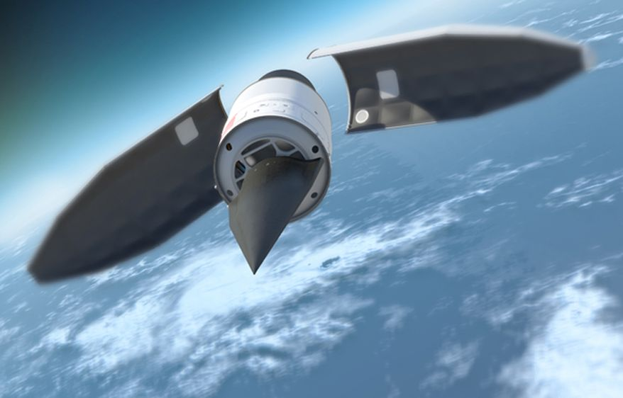 An artist's illustration of DARPA's Hypersonic Technology Vehicle 2 (HTV-2) travelling at 13,000 mph, or Mach 20, during its Aug. 11, 2011 test flight.