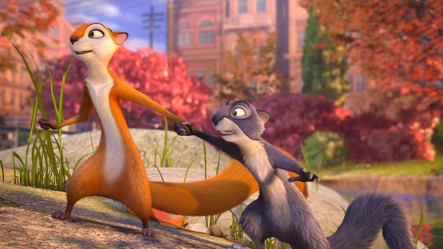 "This image released by Open Road Films shows, Andie, voiced by Katherine Heigl, left, and Surly, voiced by Will Arnett, in a scene from ""The Nut Job."" (AP Photo/Open Road Films)"