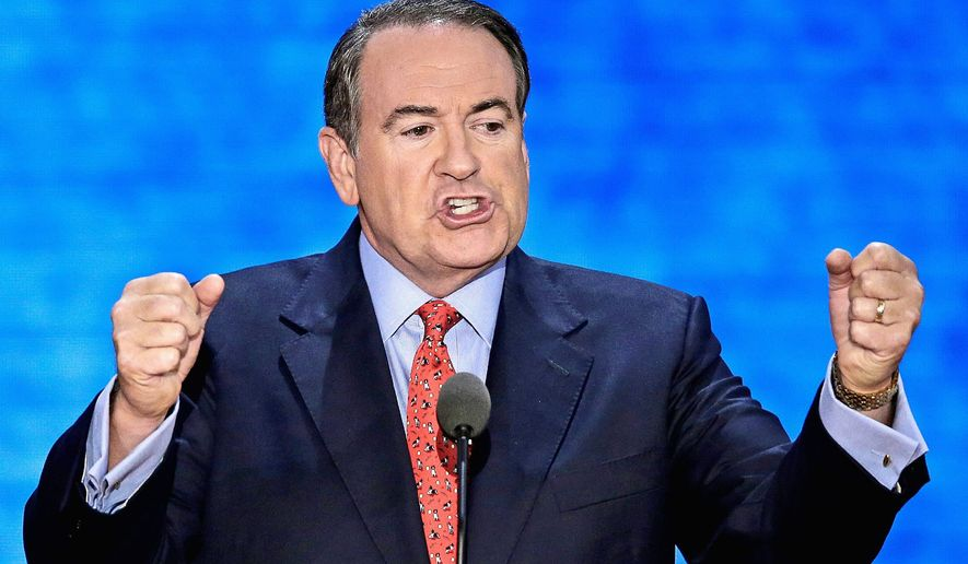 "Mike Huckabee advises Republicans that their biggest challenge is other Republicans, and calls for a moratorium on the term ""RINO."" (associated press)"