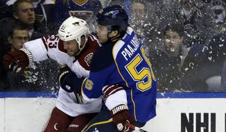 Phoenix Coyotes' Derek Morris, left, and St. Louis Blues' Magnus Paajarvi, of Sweden, collide while chasing the puck during the second period of an NHL hockey game Tuesday, Jan. 14, 2014, in St. Louis. (AP Photo/Jeff Roberson)