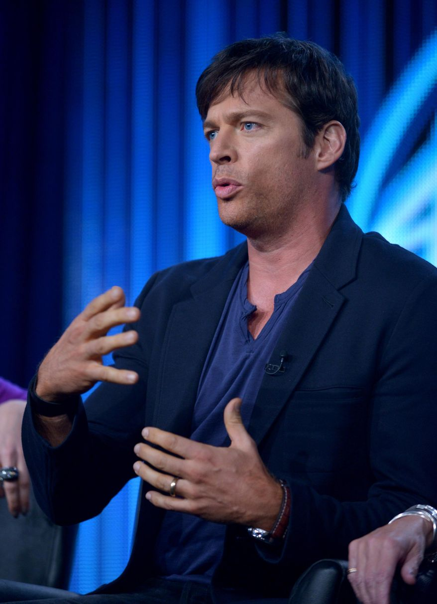 "Judge Harry Connick Jr. is seen during the panel of ""American Idol"" at the FOX Winter 2014 TCA, on Monday, Jan. 13, 2014, at the Langham Hotel in Pasadena, Calif. (Photo by Richard Shotwell/Invision/AP)"