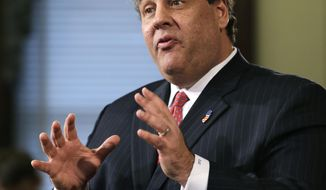 This photo taken Jan. 9, 2014,  shows New Jersey Gov. Chris Christie gesturing as he answers a question during a news conference  at the Statehouse in Trenton.  Christie will propose extending the public school calendar and lengthening the school day in a speech he hopes will help him rebound from an apparent political payback scheme orchestrated by key aides. The early front-runner for the 2016 Republican presidential nomination will make a case Tuesday Jan. 14, 2014, that children who spend more time in school graduate better prepared academically, according to excerpts of his State of the State address obtained by The Associated Press. (AP Photo/Mel Evans)