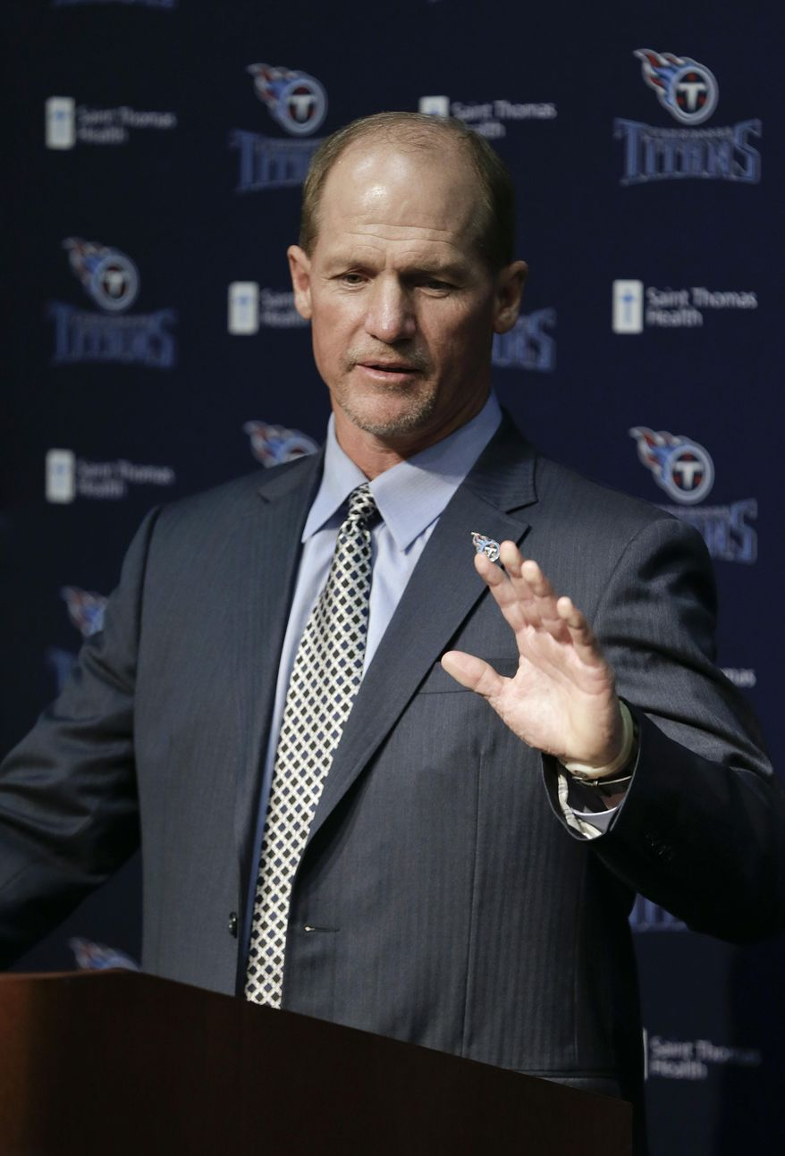 Tennessee Titans coach Ken Whisenhunt answers questions at a news conference Tuesday, Jan. 14, 2014, in Nashville, Tenn. Whisenhunt says one thing he's learned about the NFL is the importance of chemistry, and he decided the Titans were the best fit for his second chance to run a team. (AP Photo/Mark Humphrey)