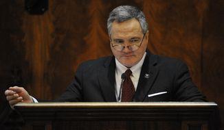 South Carolina House Speaker Bobby Harrell, R-Charleston, addresses the House chamber during the first day of the South Carolina Legislature on Tuesday, Jan. 14, 2014, in Columbia, S.C. (AP Photo/Rainier Ehrhardt)