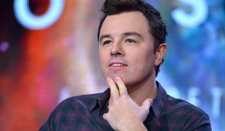 "Executive producer Seth MacFarlane speaks during the panel for ""Cosmos"" at the FOX Winter 2014 TCA, on Monday, Jan. 13, 2014, at the Langham Hotel in Pasadena, Calif. (Photo by Richard Shotwell/Invision/AP) ** FILE **"