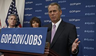 House Speaker John Boehner of Ohio, and GOP leaders face reporters on Capitol Hill in Washington, Tuesday, Jan. 14, 2014, following a weekly House Republican Conference meeting. Behind Boehner are, from left, House Majority Whip Kevin McCarthy of Calif., and Rep. Kristi Noem, R-S.D. The Republicans tied the recent stagnant employment reports to the policies of President Barack Obama and Democratic lawmakers.  (AP Photo/J. Scott Applewhite)