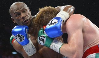 "FILE -  In this file photo taken Saturday, Sept. 14, 2013 Floyd Mayweather Jr., left, gets tangled up with Canelo Alvarez during a world light-middleweight title fight, in Las Vegas. Mayweather Jr. will arrive in South Africa on Wednesday, Jan. 15. 2014, for a six-day visit that the government hopes will help ""resuscitate"" boxing in the country. (AP Photo/Mark J. Terrill-File)"