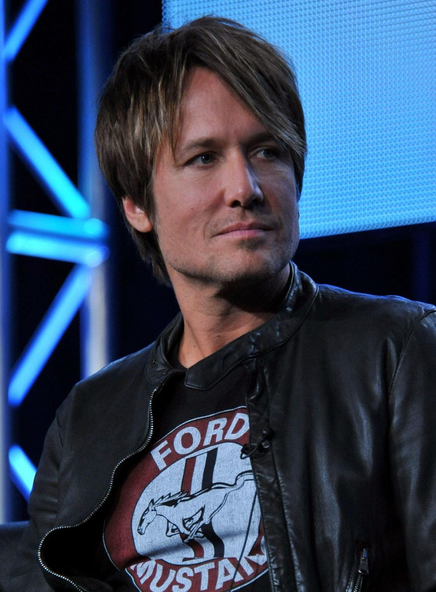"Judge Keith Urban is seen during the panel of ""American Idol"" at the FOX Winter 2014 TCA, on Monday, Jan. 13, 2014, at the Langham Hotel in Pasadena, Calif. (Photo by Richard Shotwell/Invision/AP)"