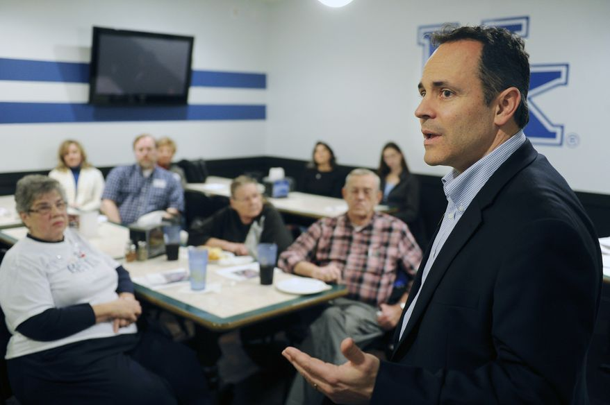 U.S. Senate candidate Matt Bevin speaks at a meet and greet, Tuesday Jan. 14, 2014 in Henderson, Ky. The Louisville businessman is running against Senate Republican Leader Mitch McConnell in Kentucky's GOP primary next May. (AP Photo/The Gleaner, Mike Lawrence)