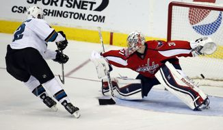 San Jose Sharks center Patrick Marleau (12) scores past Washington Capitals goalie Philipp Grubauer (31), from Germany, in the shootout of an NHL hockey game, Tuesday, Jan. 14, 2014, in Washington. The Sharks won 2-1. (AP Photo/Alex Brandon)