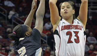Louisville's Shoni Schimmel, right, shoots over the defense of Central Florida's Andrea Hines during the second half of an NCAA college basketball game on Wednesday, Jan. 15, 2014, in Louisville, Ky. Louisville defeated UCF 75-56 and Schimmel led her team with 27 points. (AP Photo/Timothy D. Easley)