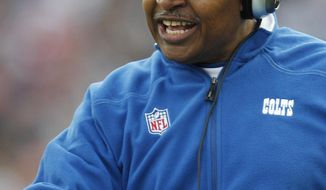 In this Dec. 4, 2011, photo, then-Indianapolis Colts coach Jim Caldwell gestures during the Colts' NFL football game against the New England Patriots in Foxborough, Mass. The Detroit Lions have hired Caldwell as coach. The team confirmed the move Tuesday, Jan. 14, 2014, and has scheduled a news conference at Ford Field on Wednesday. (AP Photo/Charles Krupa)