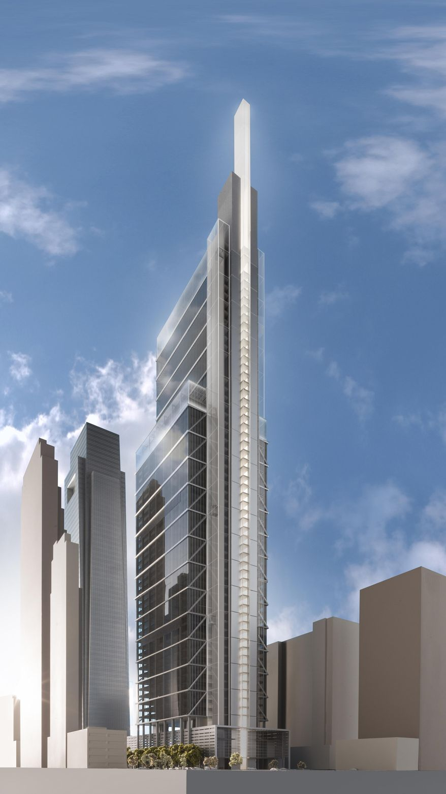 This artist rendering provided by Comcast Corp. on Wednesday, Jan. 15, 2014,  shows their planned new skyscraper. The Philadelphia-based company said it plans to build a $1.2 billion, 59-story technology center that will rise 1,121 feet next to the existing Comcast Center, which stands 975 feet tall and opened in June 2008.  (AP Photo/Comcast Corp.)