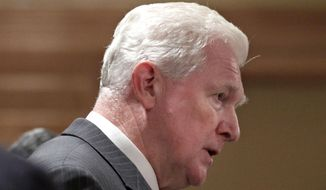 FILE - This Nov. 23, 2010 file phoo shows Rep. Jim Moran, D-Va. speaking in Arlington, Va. Veteran Democratic Moran is retiring from Congress. The 68-year Moran, a former mayor of Alexandria, Va., who was first elected in 1990, has been a staunch supporter of federal civilian employees who have a heavy presence in his district.  (AP Photo/Carolyn Kaster, File)