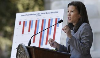 "Citing years of budget cuts to the state courts,  California Supreme Court Chief Justice Tani Cantil-Sakauye unveiled her ""Three Year Blueprint for a Fully Functioning Judicial Branch"" at a news conference in Sacramento, Calif.,  Tuesday, Jan. 14, 2014. Saying that budget cuts since 2008 have caused the judicial branch to receive only one penny for every General Fund dollar, Cantil-Sakauye called for an investment of $1.2 billion over the next three years to improve the public's access to California courts. (AP Photo/Rich Pedroncelli)"