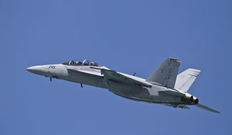 A U.S. Navy F-18 fighter jet flies over North Beach on the opening day of the Chicago Air and Water Show on Saturday, Aug. 18, 2012, in Chicago. (Associated Press) ** FILE **